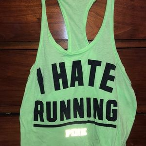 "Neon Green ""I Hate Running"" Razorback tank top"